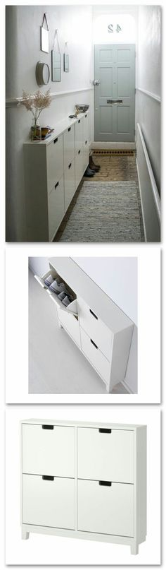 Hallway Storage Cabinet, Ikea Shoe Cabinet, Garage Storage Cabinets, Wall Storage, Shoe Cupboard, Narrow Cabinet, Storage Stairs, Storage Mirror, Laundry Storage