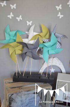 moulins à vent turquoise vert anis gris mariage photobooth bapteme baby shower décoration chambre enfant