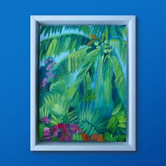 Tropical palm free exotic oasis rainforest framed paintings brushstrokes expressive thick paint affordable ready to hang green pink orange pink sky blue sky gallery wall artist support pledge uplifting Small Paintings, Pink Sky, Orange Pink, Brush Strokes, Painting Frames, Oasis, Exotic, Palm, Gallery Wall
