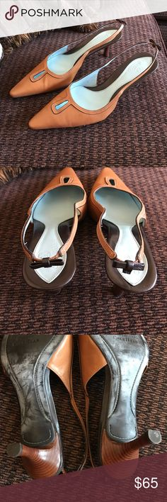 Cole Haan bow tan sling backs LIKE NEW heels Gorgeous like NEW sling backs with bow accent. Buttery soft leather. Worn once shows little to no wear. 8B Cole Haan Shoes Mules & Clogs