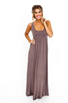 Taupe Solid Tank Maxi Dress - Dottie Couture Boutique