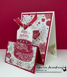 Double easel fold card - measurements, plus video tutorial with great ideas and tips ~ Tx Stampin Sharon Armstrong Fancy Fold Cards, Folded Cards, Handmade Birthday Cards, Happy Birthday Cards, Stampin Up Anleitung, Step Cards, Shaped Cards, Card Making Tutorials, Pop Up Cards