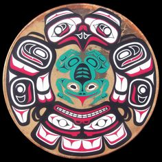 Drum design by Casimir Nowicki - Eagle and Flying Frog Tribal Wolf Tattoo, Tribal Art, Native Drawings, Kunst Der Aborigines, Native American Wisdom, American Indians, Native Canadian, North To Alaska, Indian Artwork