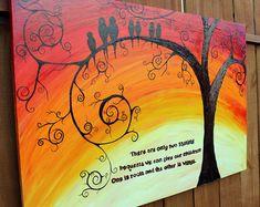 "Familia de aves: 24"" por 36"" amarillo acrílico árbol, pintura abstracta, rojo, naranja"