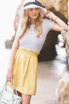 elastic waist cornflower yellow skirt + hat w/ribbon tied bow + striped top