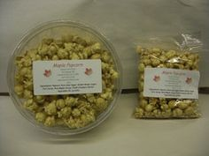 10 oz Tub or 3 oz Bag of Maple Popcorn. Ingredients: popcorn, pure cane sugar, golden brown sugar, corn syrup, pure maple syrup, fresh creamery butter, vegetable oil, and lecithin