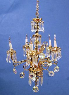Dollhouse miniature chandelier by SPMINIATURES on Etsy, $180.00