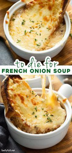 Onion Soup Recipes, Easy Soup Recipes, Cooking Recipes, Baked Onion Soup Recipe, Sick Recipes, French Food Recipes, Onion Soups, Homemade French Onion Soup, Gastronomia