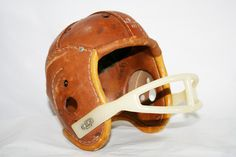 Old Leather Football Helmet by flattirevintage on Etsy