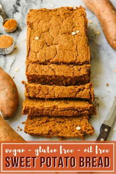 This Sweet Potato Bread is SO GOOD! Gluten Free, Vegan, and perfect for Meal Prep #vegan #plantbased #veganbreakfast #mealprep #sweetpotato #bread #bananabread