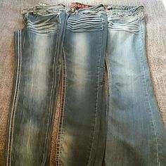BUNDLE 3 PAIRS OF JEANS. DOLLHOUSE, BLUE ASPHALT &YMI..  SIZE 7 SIZE 9 AND SIZE 11.  Junior sizes.  They are basically all the same size.  If you're interested let me know and I will give you exact measurements of each pair.  Thank you for checking out my closet.  2 pairs are boot cut and one pair are skinny jeans. Jeans Skinny
