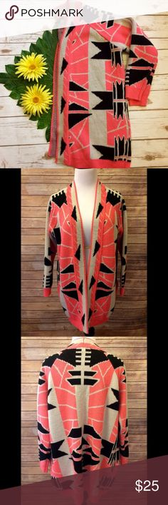 "F21 Aztec Neon Print Knit Waterfall Cardigan Very trendy, oversized knit cardigan. Oatmeal/cream color with neon pink and black accents. Waterfall style front, with pockets. Heavy fabric. Tag says small but can fit larger. Small hole under arm that was sewed back together (seam shown in last photo). Shoulder to hem: 32"". Back to hem: 29"". Fabric: 100% acrylic. Forever 21 Sweaters Cardigans"