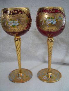 2 Antique Cranberry Wine Glass Bohenian Czech Moser