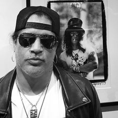 SLASH today in our London store wearing his new Padlock Necklace. [Link in bio]