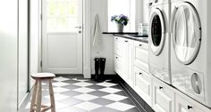 Modern Farmhouse Laundry Room Ideas – Pickled Barrel Modern Farmhouse Laundry Room with Black and White Checkered Floor Modern Laundry Rooms, Farmhouse Laundry Room, Modern Room, Laundry Room Cabinets, Laundry In Bathroom, Landry Room, Checkered Floors, Laundry Room Inspiration, Small Laundry