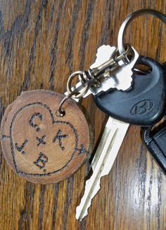 Gift for groom,5th Anniversary gift for him or her, Personalized rustic heart Keychain key chain,wedding. $19.50, via Etsy.