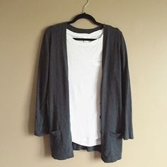 Gray long cardigan sweater Old navy long gray cardigan sweater. Has buttons and pockets. Very cute for the colder months and perfect for layering! In good condition. Only worn a few times. Old Navy Sweaters Cardigans