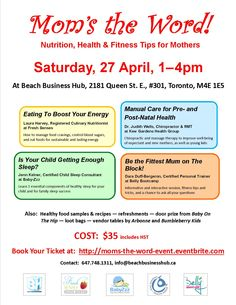 This is for all you moms in the Toronto area! A fun, informative, and interactive afternoon with talks by four experts on topics that matter to today's busy mothers and their children. Half-way through the event we will treat you to some tasty and healthy sample snacks prepared by our nutritionist, and you can browse through some vendor tables and get additional tips.