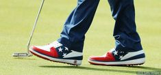 The golf shoes of Bubba Watson are seen on a green in a practice round at the Rio 2016 Olympic Games at Olympic Golf Course on Aug. 9, 2016 in Rio de Janeiro.