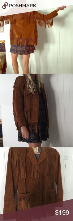 Vintage Leather Fringe Jacket *mint condition* This jacket is in amazing condition for vintage. It has the perfect amount of fringe. This jacket is timeless. It's very durable and has original wooden buttons attached. It's very had to find this style jacket in this size. It fits a bit smaller than what you would think a size 8 would. I am 5'9 and it fits me perfect. It's a bit tight because it still needs to be broken in. This jacket is super cute for the gal who shops the hippie // boho…