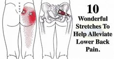 Pain Remedies 10 Wonderful Stretches To Help Alleviate Lower Back Pain. Back Stretches For Pain, Sciatica Stretches, Muscle Stretches, Sciatic Pain, Sciatic Nerve, Yoga Exercises, Piriformis Exercises, Low Back Exercises, Piriformis Syndrome
