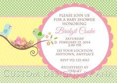 Baby shower invitation. Birds Www.facebook.com/custom.designs.by.ana