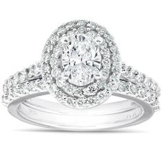 Shop for Oval Diamond Double Halo Engagement Wedding Ring Set White Gold. Get free delivery On EVERYTHING* Overstock - Your Online Jewelry Destination! Dream Engagement Rings, Classic Engagement Rings, Princess Cut Engagement Rings, Round Diamond Engagement Rings, Three Stone Engagement Rings, Engagement Wedding Ring Sets, Oval Diamond, Wedding Set, Engagement Ideas