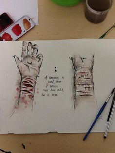 """""""Drawing for self harm/semicolon day. Depression Art, Law Of Attraction Love, Sad Drawings, Arte Obscura, Sad Art, My Demons, Sad Quotes, Qoutes, Charts"""