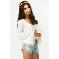 Puebla Crop Top - White ($29) ❤ liked on Polyvore