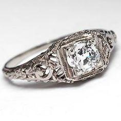Perfect- 1930's Filigree. Antique 1930's Filigree Engagement Ring w/ Old Euro Solitaire 14K White Gold - EraGem
