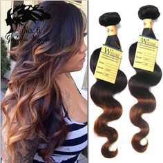 "Human Hair Extension 1/2/3Bundles 16""-20"" Ombre 1B/4/30# 50g Weave Free Ship US #wigiss #HairExtension"