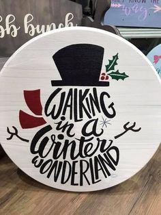 winter wonderland snow man / rustic home decor / holiday decor / snowman wood round