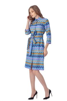 Rochie din bumbac cu imprimeu in zig-zag, Azara Dresses For Work, Dresses With Sleeves, Zig Zag, Long Sleeve, Model, Fashion, Moda, Gowns With Sleeves