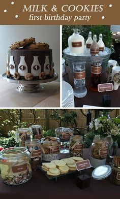 Milk and cookies party - would have to add some pink for a little girl's party but still love this idea! :)