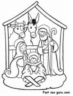 printable christmas jesus in the manger coloring pages printable coloring pages for kids - Nativity Coloring Pages Printable