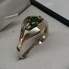 Vintage Ringe - Goldring 585 Weißgold Smaragd Diamant alt GR192 - ein Designerstück von Atelier-Regina bei DaWanda