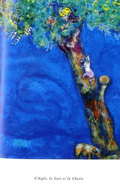 Marc Chagall illustration for EAGLE, THE LAIE AND THE CAT, a fable by Jean de la Fontainer.