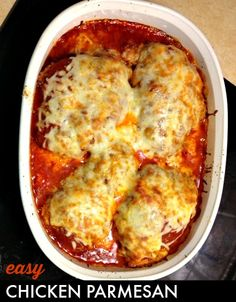 Make this easy chicken parmesan with items you probably already have in your pantry. I love this dish because it looks impressive but it's super-easy.