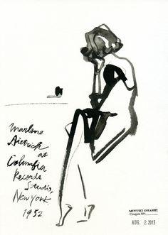 miyukiohashi:  Marlene Dietrich at Columbia Records Studio, New York, 1952.
