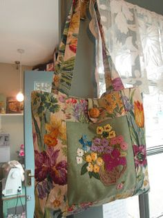 vintage Sanderson and embroidered linen bag