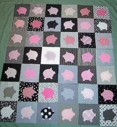 Sure do wish I could sew!!!  42 adorable Quilt blocks (squares),  cute pink pigs! + PATTERN & INSTRUCTIONS!