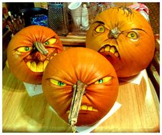 creative faces - pumpkin carving #diy #crafts www.BlueRainbowDesign.com