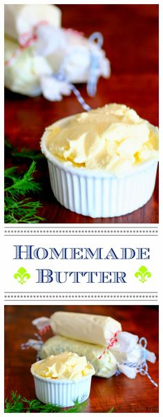 Homemade Butter - just one ingredient and about 5 minutes of your time : jordanseasyentertaining Homemade Buttermilk, Homemade Cheese, Flavored Butter, Butter Recipe, Get Thin, Diy Food, Chutney, Food Hacks, Food To Make