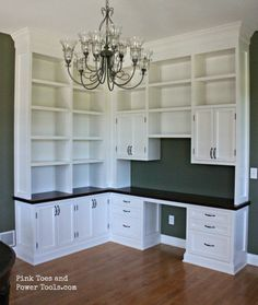 Free DIY Furniture Project Plan: Learn How to Build a Custom Home Office Built-In. Corner built in idea