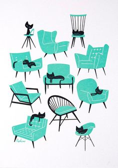 Cute screenprint by Peskimo. Cat Naps celebrates good design and good sleeping choices.