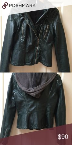 Free People dark green faux leather jacket Gorgeous dark green leather look jacket. Barely worn. Perfect condition. Free People Jackets & Coats