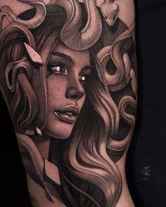 Aztec Tribal Tattoos, Tribal Shoulder Tattoos, Mens Shoulder Tattoo, Badass Tattoos, Head Tattoos, Body Art Tattoos, Sleeve Tattoos, Medusa Tattoo Design, Armband Tattoo Design