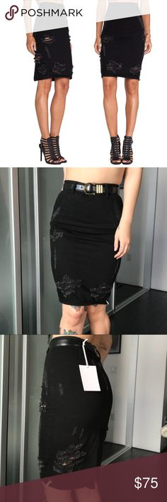 """One Teaspoon freelove distressed black denim skirt 😭 This skirt is so cute but it's too tight for my wide bottom!  The denim has no stretch and is a size too small for me so I can get them on but I cannot move or sit in them 😂 For reference I am usually a 28"""" waist and 39"""" hip.  I would say this skirt fits pretty TTS  Modest knee length is edgier with all over distressing and ugh pencil fit.  So easy to style, it's sure to become a favorite.  Willing to trade for a size up.  Let me know if…"""