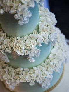 Wedding cake ideas: Three-tiered lightly spiced banana wedding cake, paired with milk chocolate ganache by Faye Cahill Cake Design. The icing was a pearled pistachio green, decorated with white ruffle cascading over all three tiers #weddingcake #weddings