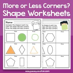 Cut and Paste Shapes Worksheets – Easy Peasy and Fun Membership 3d Shapes Worksheets, School Worksheets, Autumn Activities, Book Activities, Folder Games, File Folder, Shape Names, 2d And 3d Shapes, Cut And Paste